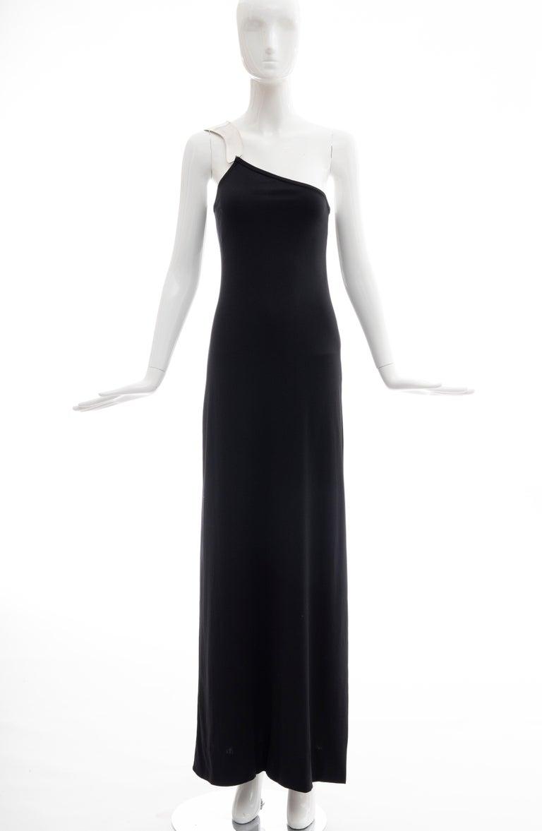 Women's Rudi Gernreich Black Jersey Dress with Sculpted Aluminum Shoulder, Spring 1975 For Sale