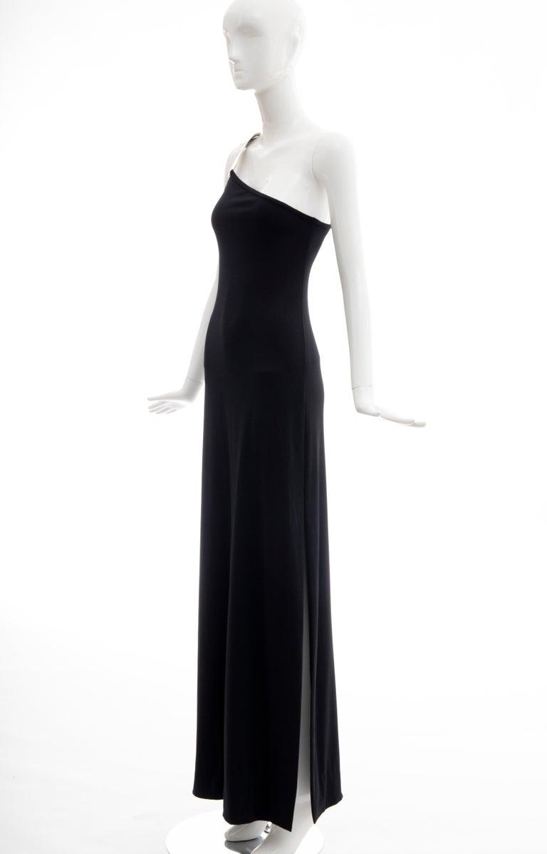 Rudi Gernreich Black Jersey Dress with Sculpted Aluminum Shoulder, Spring 1975 For Sale 1