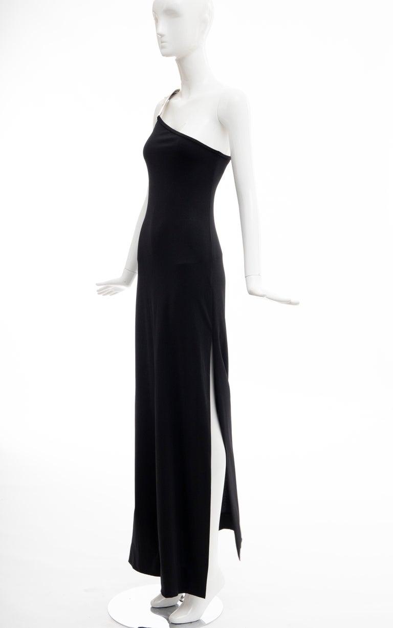 Rudi Gernreich Black Jersey Dress with Sculpted Aluminum Shoulder, Spring 1975 For Sale 2