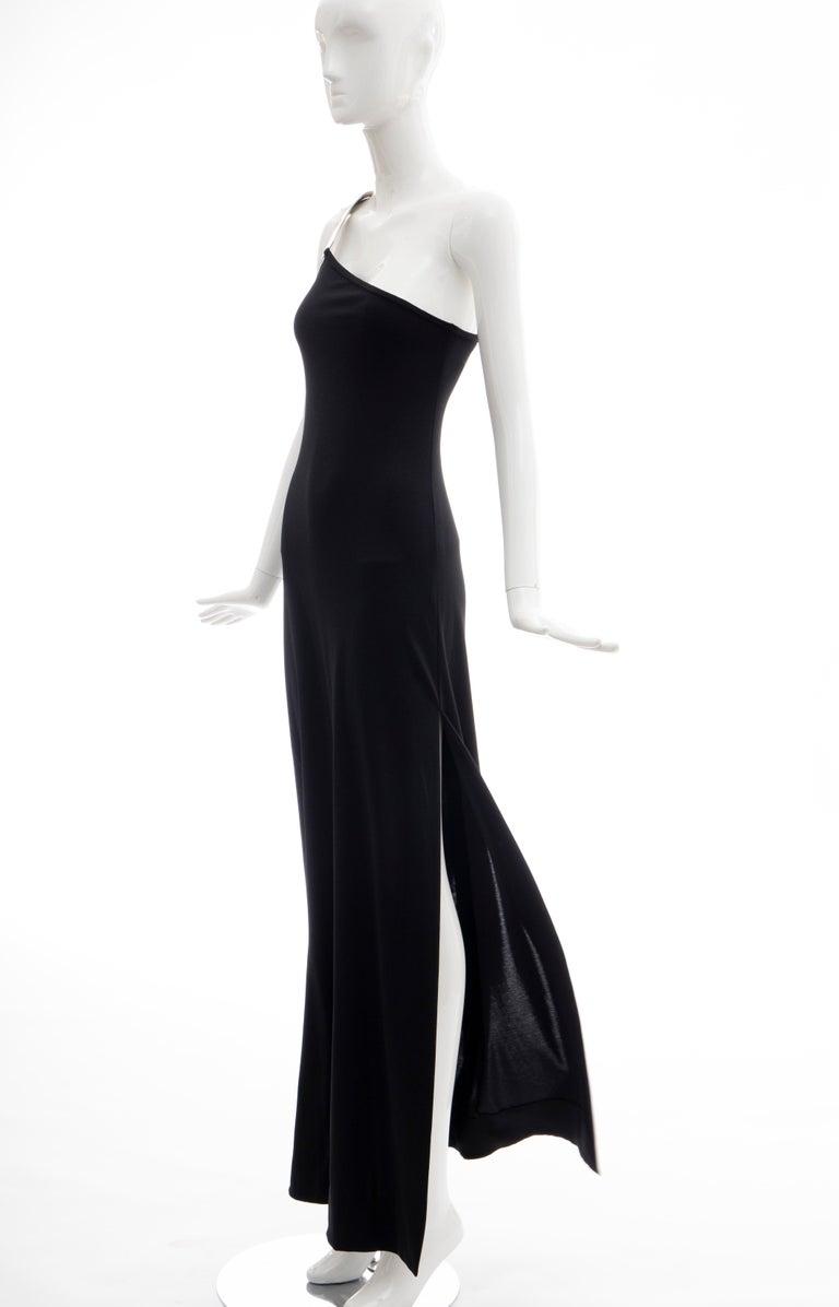 Rudi Gernreich Black Jersey Dress with Sculpted Aluminum Shoulder, Spring 1975 For Sale 3