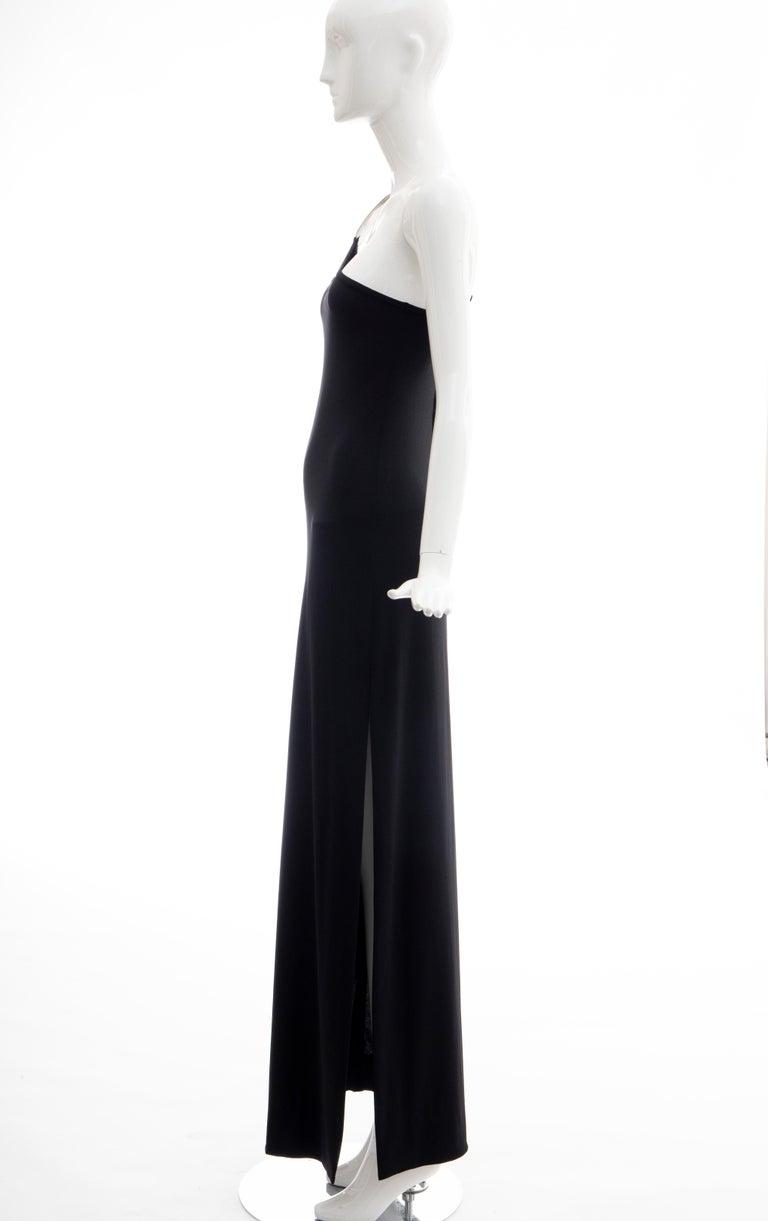 Rudi Gernreich Black Jersey Dress with Sculpted Aluminum Shoulder, Spring 1975 For Sale 4