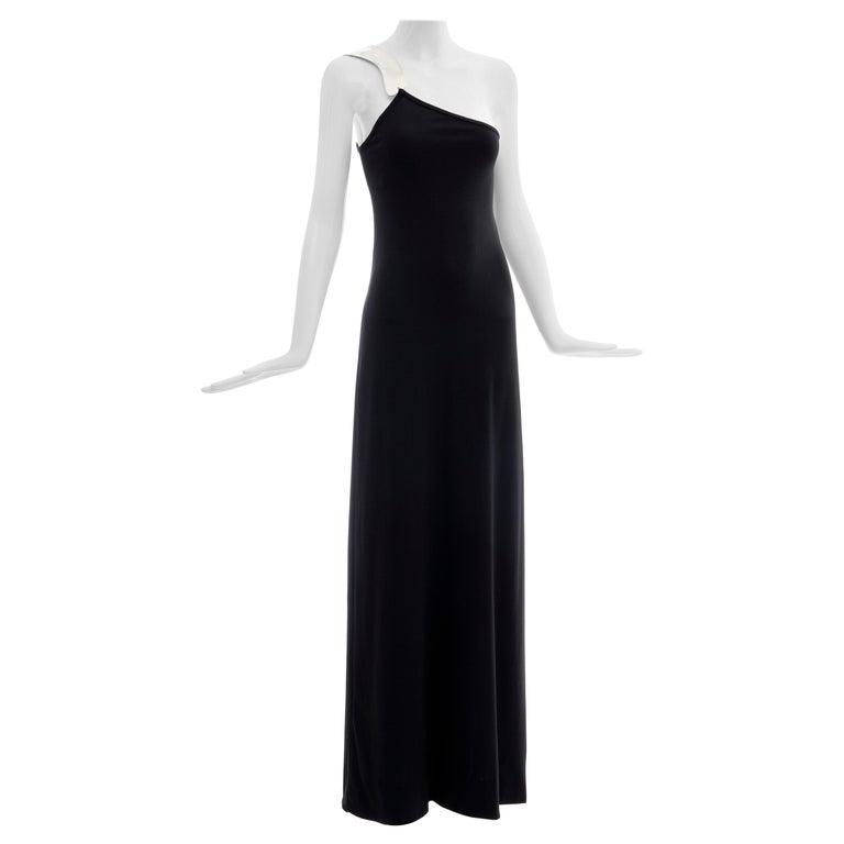 Rudi Gernreich Black Jersey Dress with Sculpted Aluminum Shoulder, Spring 1975 For Sale