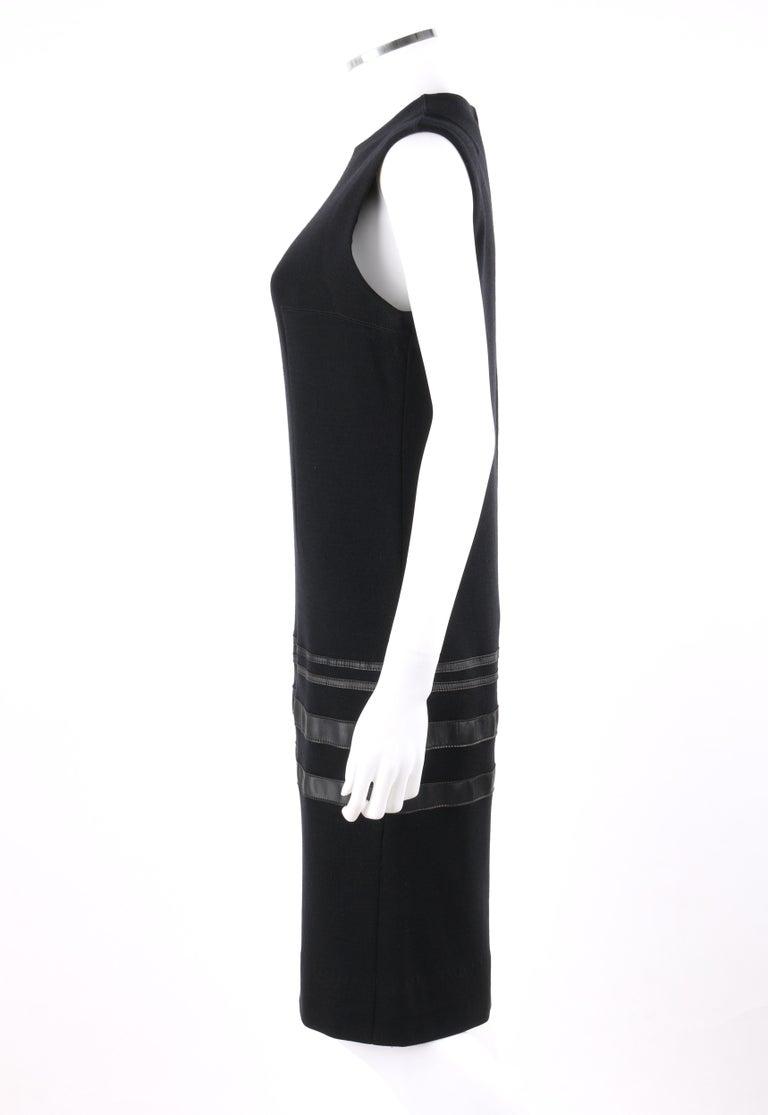 Women's RUDI GERNREICH c.1960s 2 Pc Wool Knit & Leather Open Jacket Shift Dress Suit Set For Sale