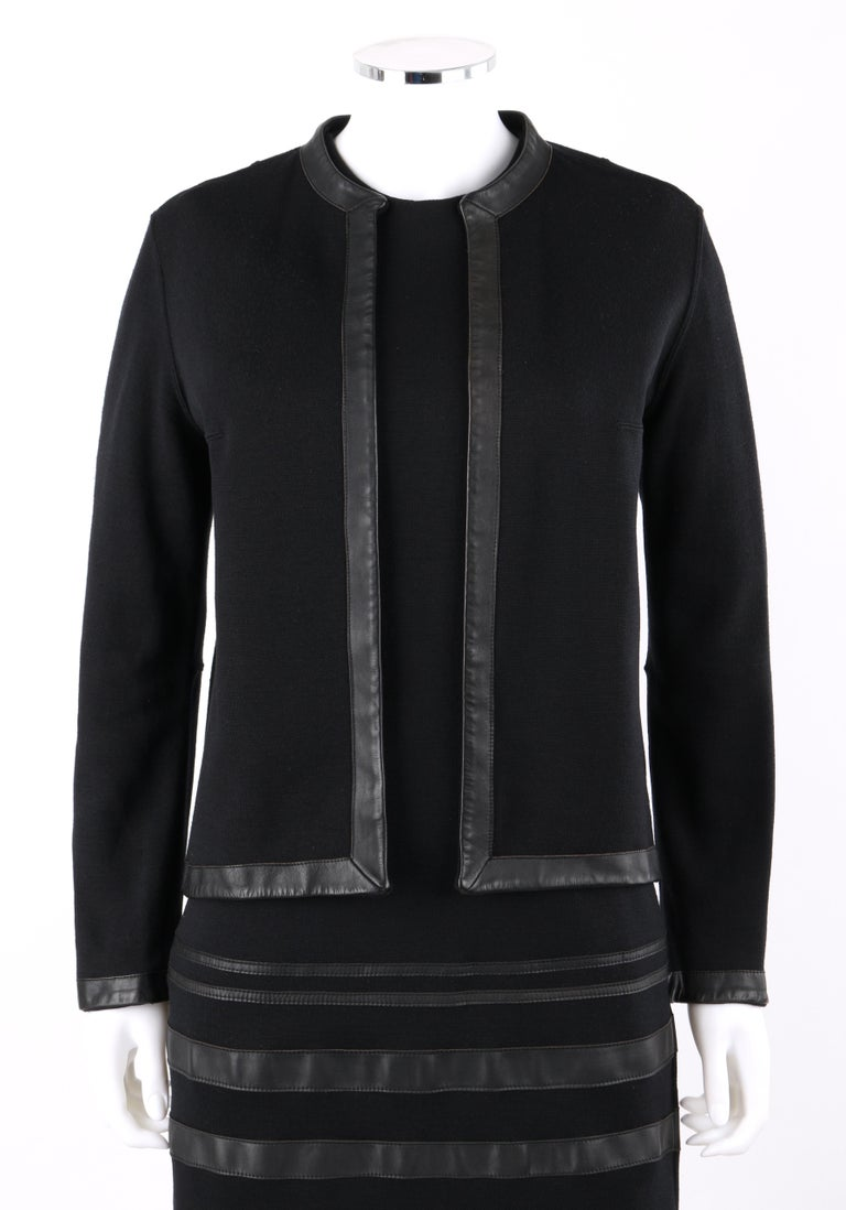 RUDI GERNREICH c.1960s 2 Pc Wool Knit & Leather Open Jacket Shift Dress Suit Set For Sale 1