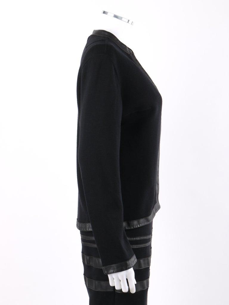 RUDI GERNREICH c.1960s 2 Pc Wool Knit & Leather Open Jacket Shift Dress Suit Set For Sale 2