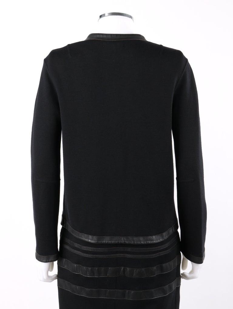 RUDI GERNREICH c.1960s 2 Pc Wool Knit & Leather Open Jacket Shift Dress Suit Set For Sale 3