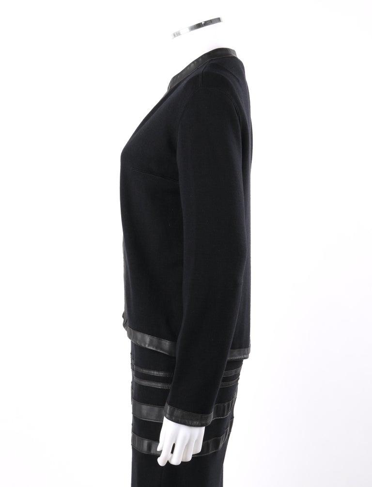 RUDI GERNREICH c.1960s 2 Pc Wool Knit & Leather Open Jacket Shift Dress Suit Set For Sale 4