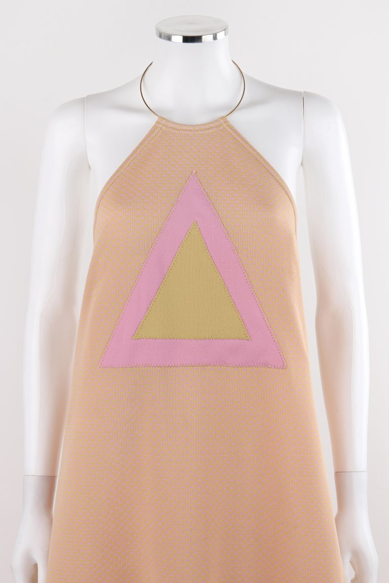 RUDI GERNREICH c.1970 Pink Yellow Triangle Knit Choker Necklace  Halter Top Dress - New Old Stock  Circa: 1970 Label(s): Rudi Gernreich Design for Harmon Knitwear Designer: Rudi Cernreich Style: Halter tent dress; metal necklace top Color(s): Pink