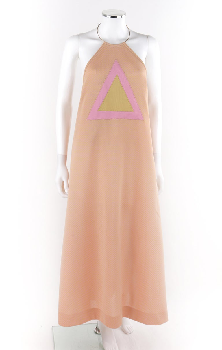 Beige RUDI GERNREICH c.1970 Pink Yellow Triangle Knit Choker Necklace Halter Top Dress For Sale