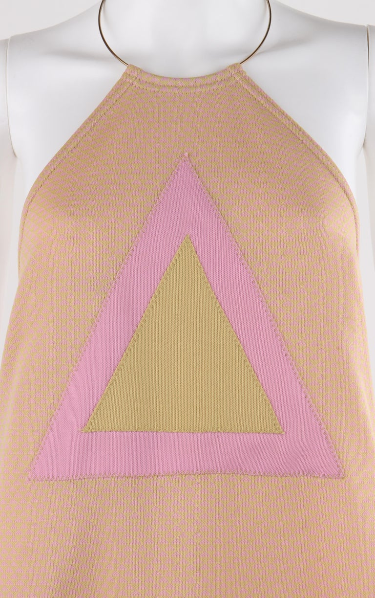 RUDI GERNREICH c.1970 Pink Yellow Triangle Knit Choker Necklace Halter Top Dress For Sale 2