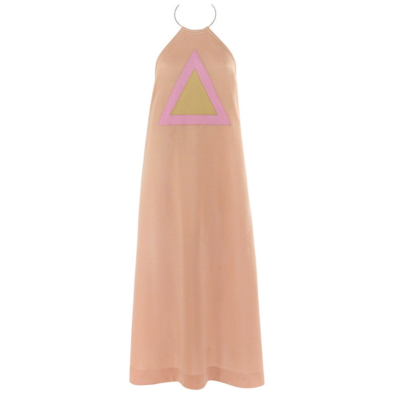 RUDI GERNREICH c.1970 Pink Yellow Triangle Knit Choker Necklace Halter Top Dress For Sale