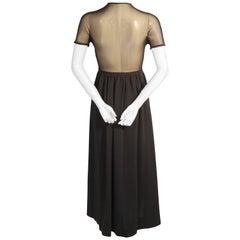 Rudi Gernreich Harmon Knitwear Black Wool Knit Dress with Sheer Black Silk Back
