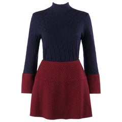 RUDI GERNREICH Harmon Knitwear c.1960's 2pc Raised Knit Stripe Sweater Skirt Set