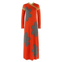 RUDI GERNREICH Harmon Knitwear c.1960's Floral Knit Long Sleeve Maxi Dress