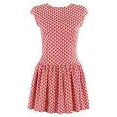 RUDI GERNREICH Harmon Knitwear c.1960's Red White Geometric Op Art Knit Dress