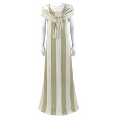 RUDI GERNREICH Harmon Knitwear c.1960's Striped Trompe l' Oeil Wool Dress Shawl