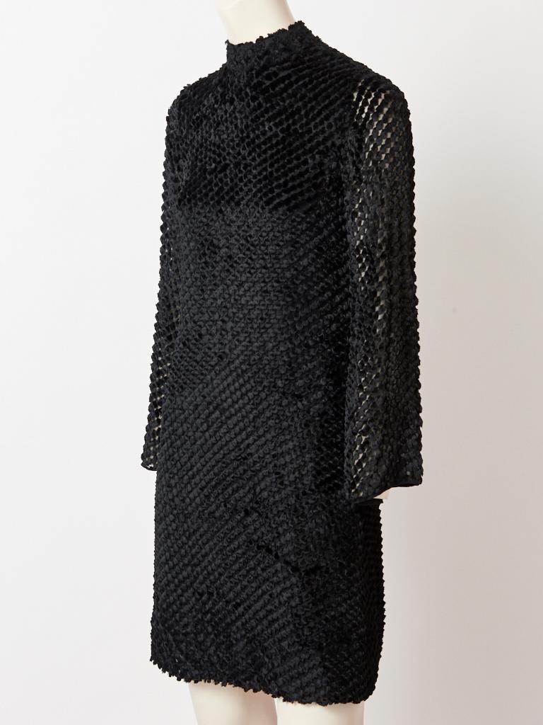 Black Rudi Gernreich  Late 60's Cut Velvet Mini Dress For Sale