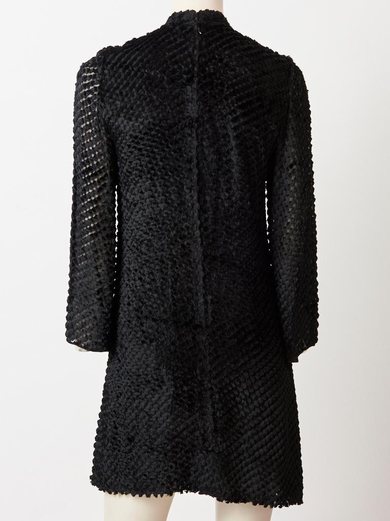 Rudi Gernreich  Late 60's Cut Velvet Mini Dress In Good Condition For Sale In New York, NY