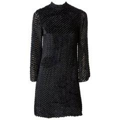 Rudi Gernreich  Late 60's Cut Velvet Mini Dress