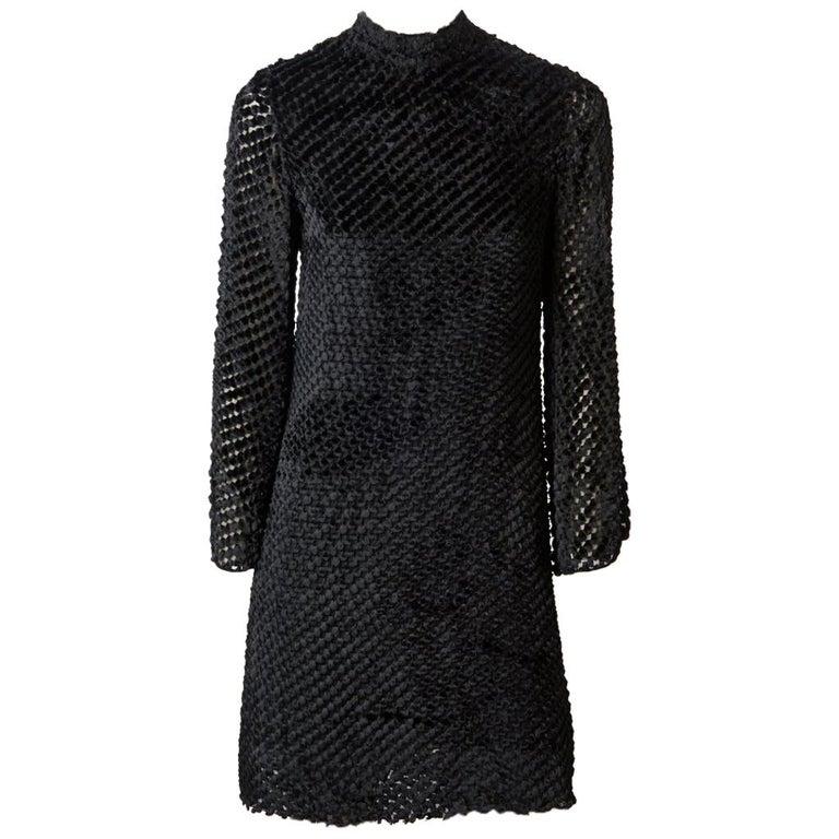 Rudi Gernreich  Late 60's Cut Velvet Mini Dress For Sale