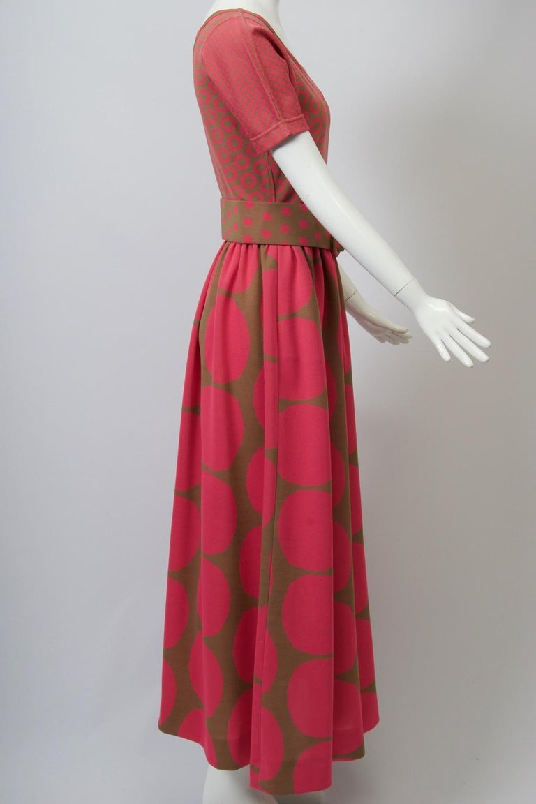 Rudi Gernreich Pink/Olive Knit Dress In Good Condition In Alford, MA