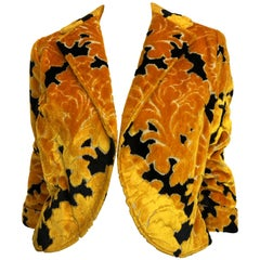 Rudi Gernreich Yellow and Black Velvet Brocade Cropped Jacket, 1960s