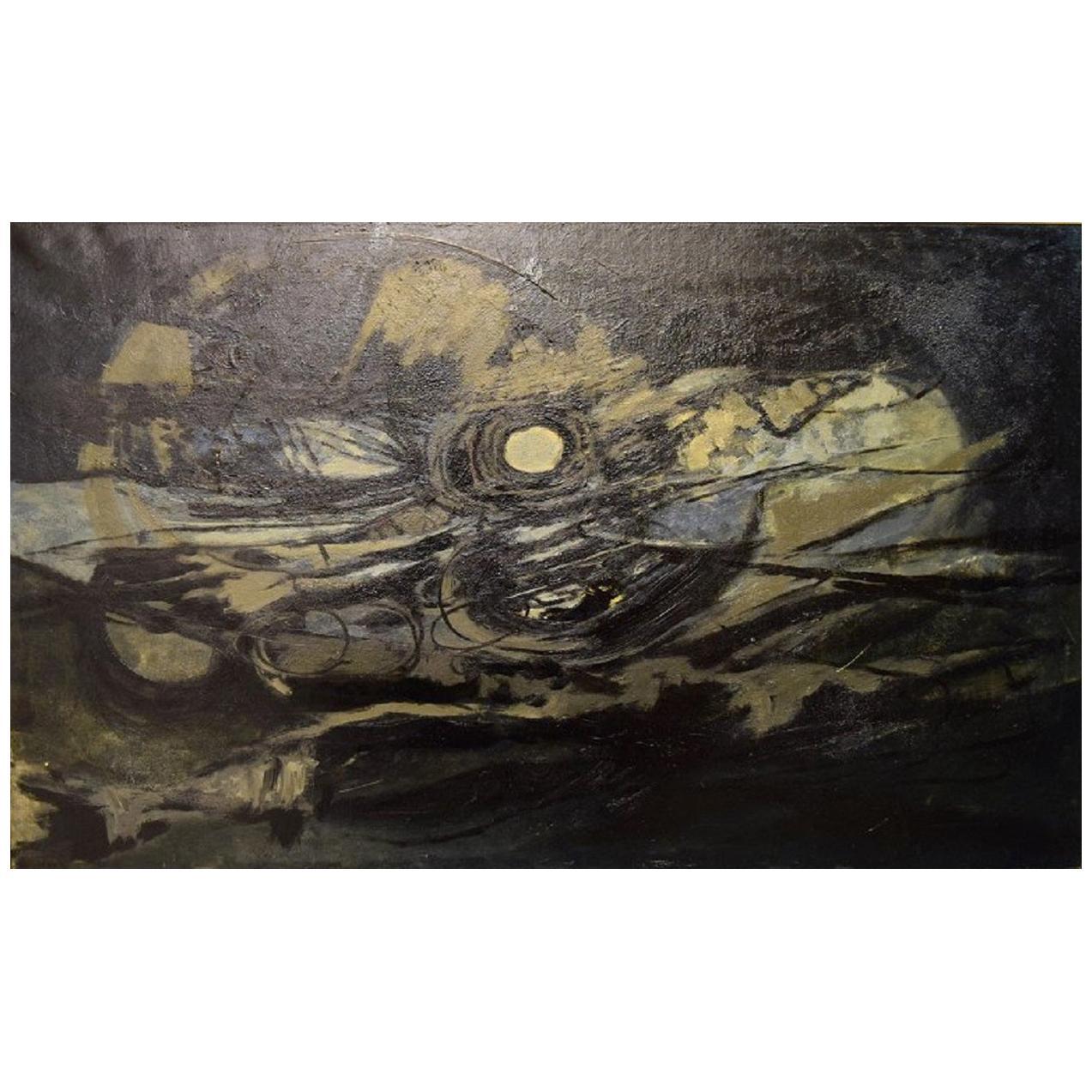 """Rudi Olsen, Danish Artist, Oil on Canvas, """"Thunder Jutland"""", Dated 1961"""