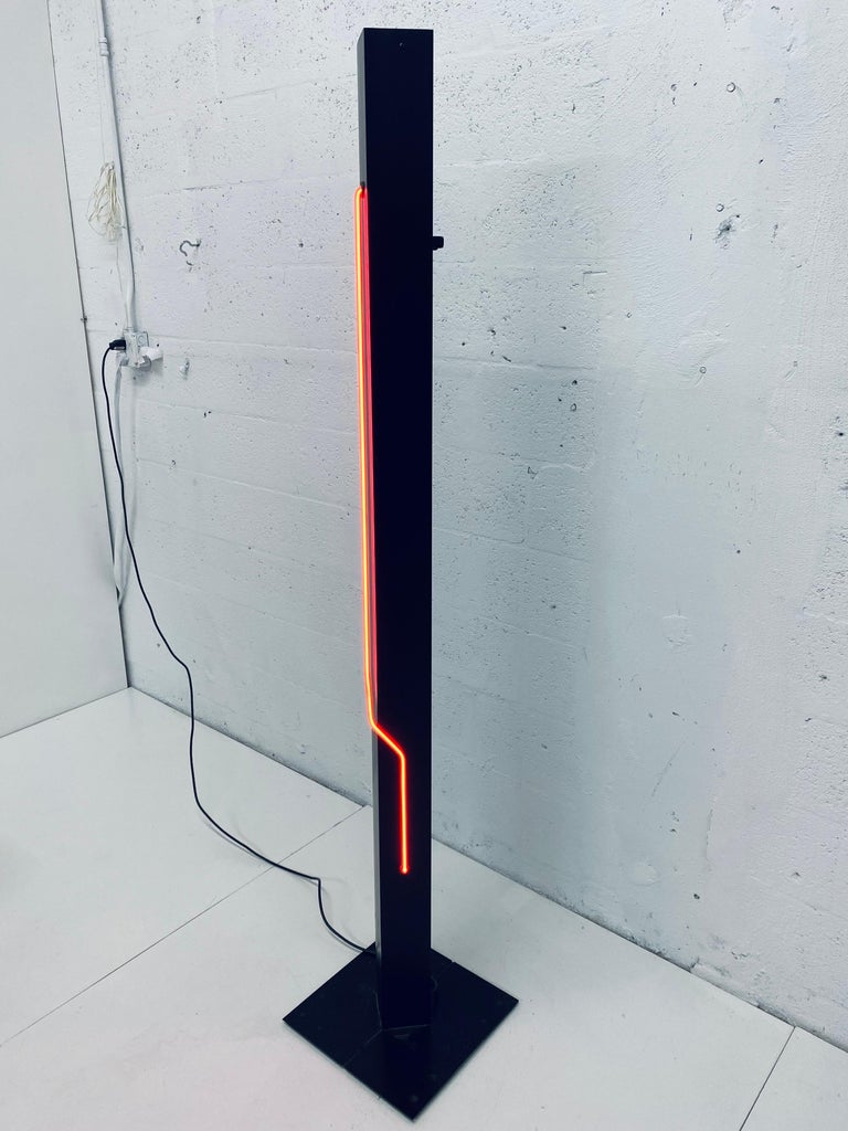 Black tower with red neon and dimmable uplight by Rudi Stern for George Kovacs, 1980s.