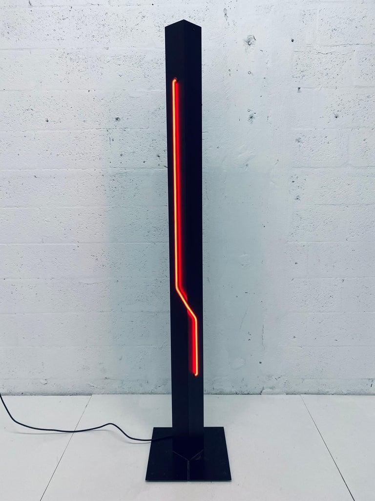 American Rudi Stern Postmodern Red Neon Floor Lamp for George Kovacs, 1980s For Sale