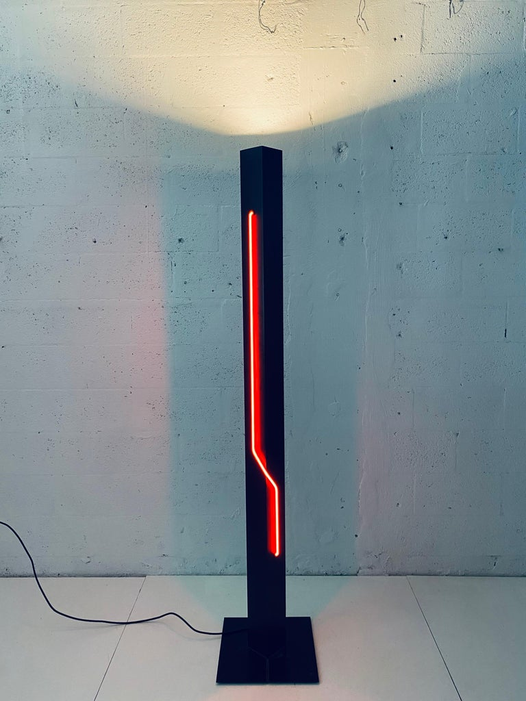 Rudi Stern Postmodern Red Neon Floor Lamp for George Kovacs, 1980s In Good Condition For Sale In Miami, FL