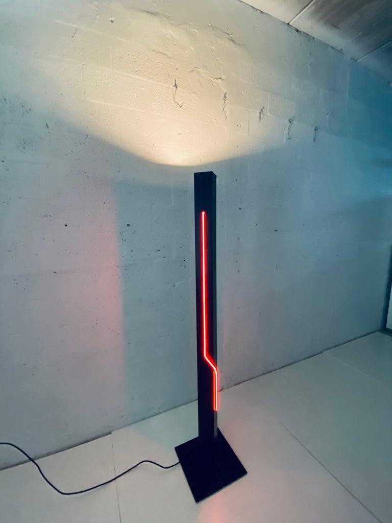 Late 20th Century Rudi Stern Postmodern Red Neon Floor Lamp for George Kovacs, 1980s For Sale