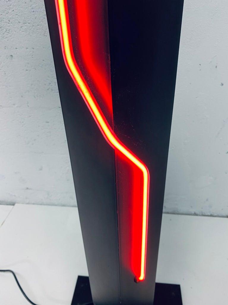 Rudi Stern Postmodern Red Neon Floor Lamp for George Kovacs, 1980s For Sale 1