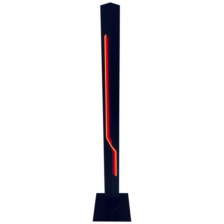 Rudi Stern Postmodern Red Neon Floor Lamp for George Kovacs, 1980s For Sale