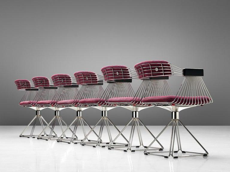 Lacquered Rudi Verelst Twelve Chromed 'Delta' Chairs For Sale