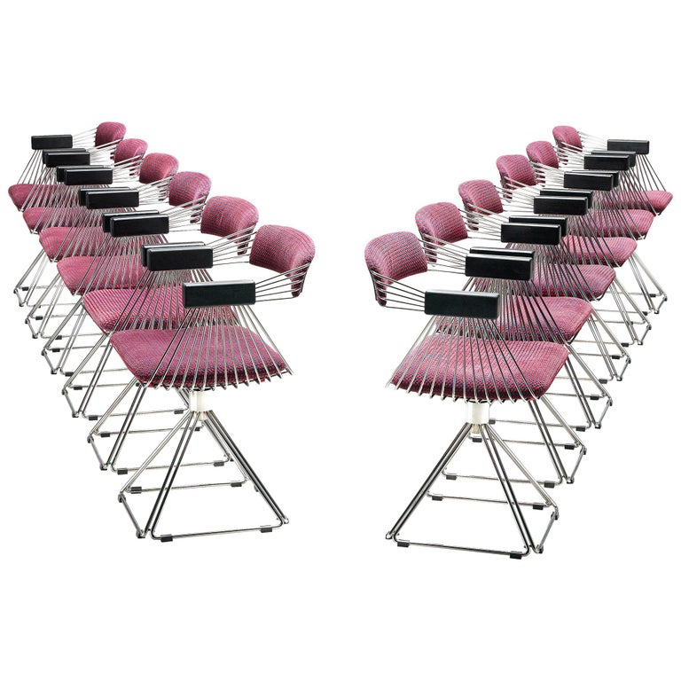 Rudi Verelst Twelve Chromed 'Delta' Chairs For Sale