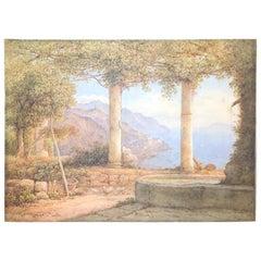 Rudlolf Muller Watercolor Dated 1854 Amalfi Coastal Scene