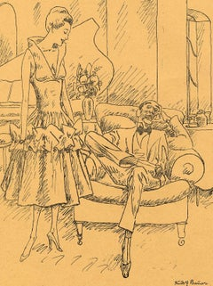 Before the Party (seated man in bow tie and fashionable woman standing by piano)