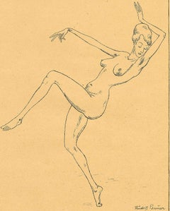 Nude Woman Dancing (nude dancer kicks out one leg. raises arms in sensual dance)