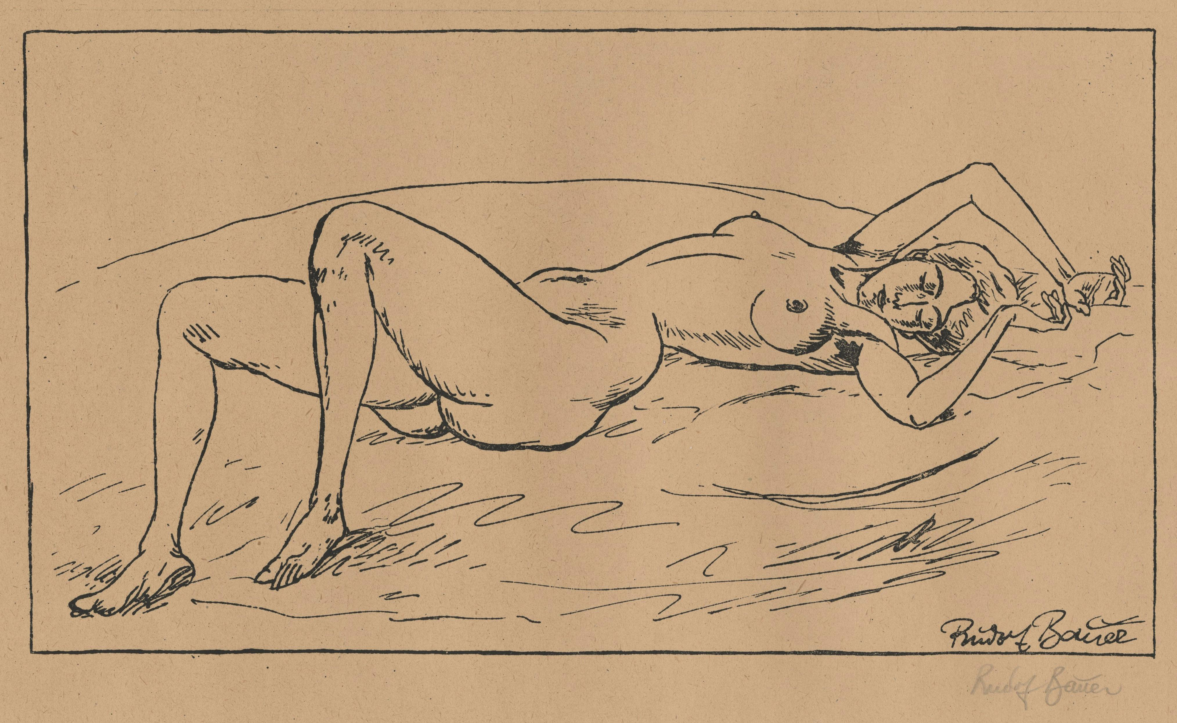 Reclining Nude on Bed