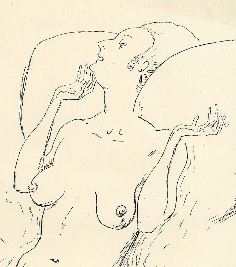 Seated Nude / Arms Raised (Head reclines on back of chair) - Print by Rudolf Bauer