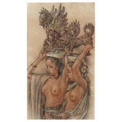 Rudolf Bonnet, Colonial Drawing of Two Balinese Beauties, circa 1945