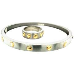 Rudolf Erdel Platinum Yellow Gold Ring and Bangle Bracelet