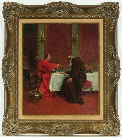 Rudolf Ernst (1854-1932) Signed French-Austrian Oil, Bishop and Monk in Interior