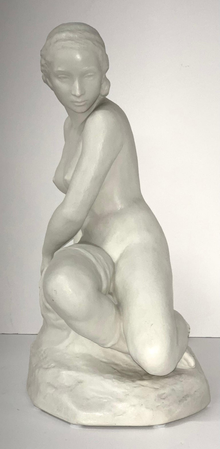 A nice porcelain or parian type figurine of a nude female by Rudolf Kaesbach for Rosenthal. In very good condition signed on the base and marked Rosenthal on the bottom. It is 12 inches tall and approximately 8 inches wide and 6 inches deep.
