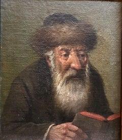 Pre World War II Austrian Judaica Oil Painting Hasidic Rabbi Portrait