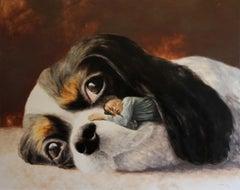 Best Friends (spaniel puppy dog ear surrealism scale animal boy farm earth tones