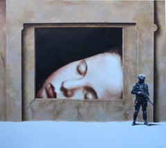 Capture (girl soldier surrealist oil painting sleeping child portrait figurative