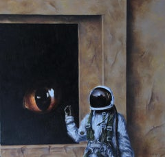 Contact (animal cat eye astronaut oil painting surrealist figurative mystery)