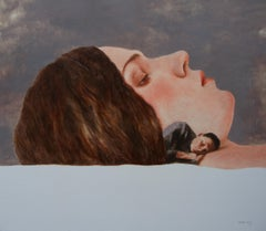 Couple (oil painting woman portrait man flesh tones sleeping beauty vintage)