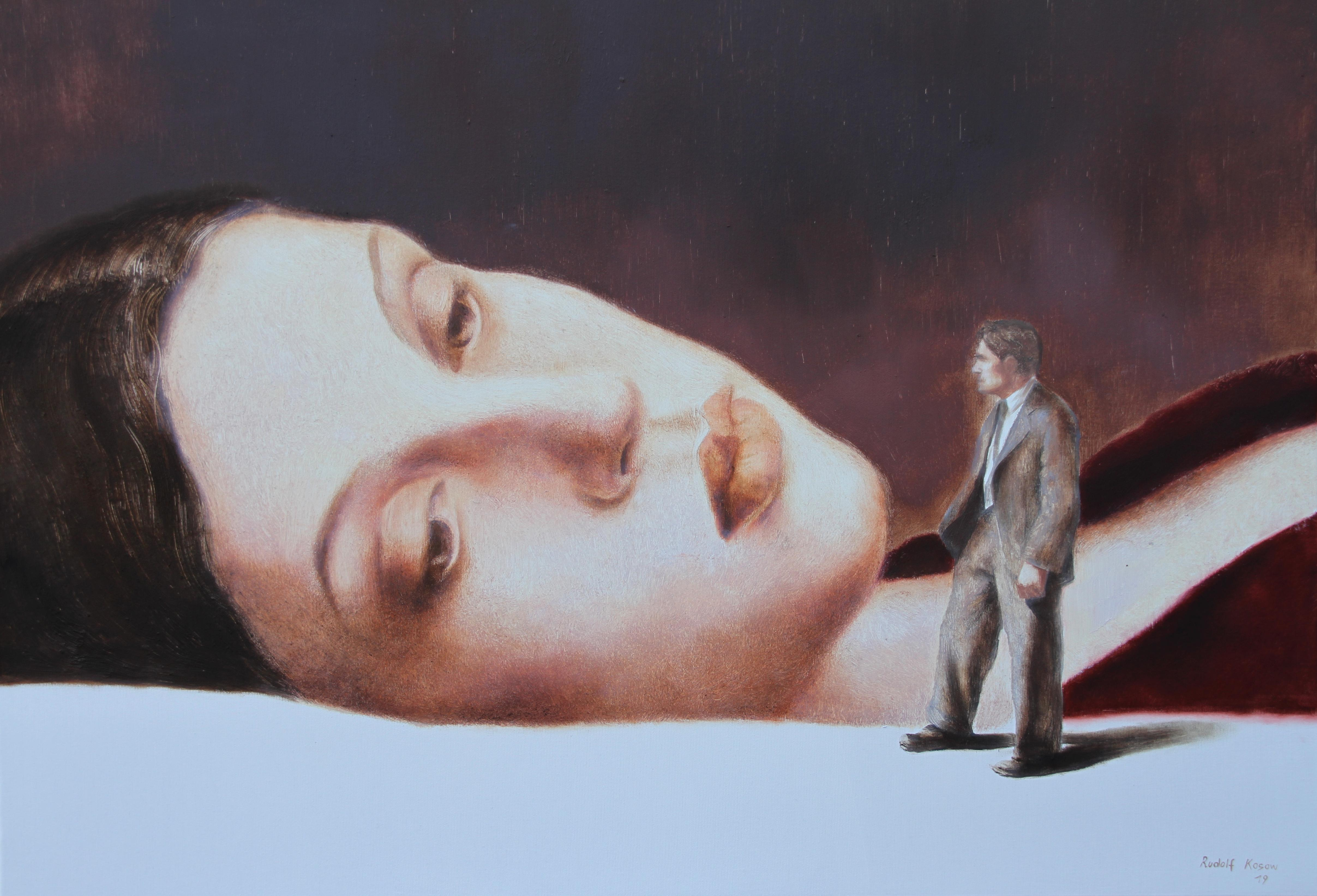 Couple (oil painting flesh tones vintage couple sleeping beauty nostalgia)